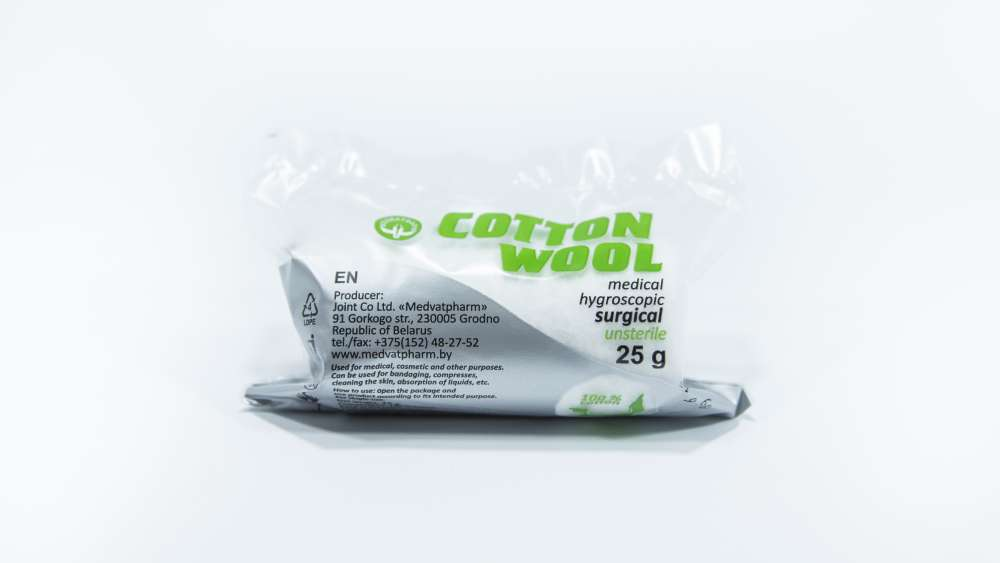 Surgical cotton wool unsterile rolls, 25 g