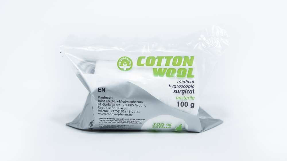 Surgical cotton wool unsterile rolls, 100 g